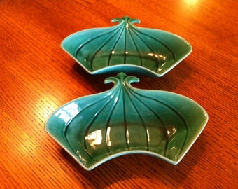 Doranne Dishes, California Pottery Curved Serving Dishes, PAIR, Two for One Price, Green Glaze, Fleur de Lis, Stylized 1950s Design