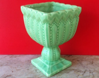 Add Vintage Glamour to Your Room, Mid Century Modern Vase, Glossy Green Glaze, Art Pottery Vase, RARE, Inarco Pedestal Vase, Rare and Old