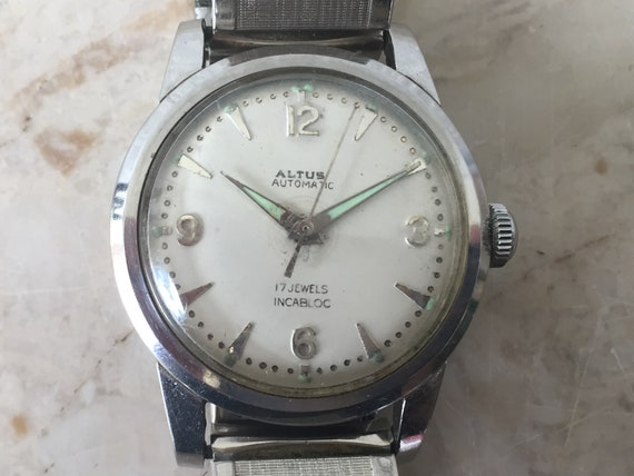 Glycine Altus Automatic White Dial 17 Jewels Antimagnetic Stainless Steel Vintage Men S Vintage Mens Swiss Watch Works Great