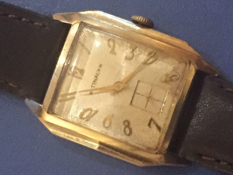 Wittnauer Watch Value >> Vintage Mens Watch Wittnauer Watch Swiss Made 17 Jewels Yellow Gold Filled Fancy Case Steel Back Rectangular Exploding Numbers
