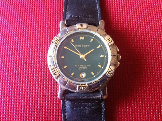 Vintage Mens Watch Times Square Black Dial Brushed Etsy