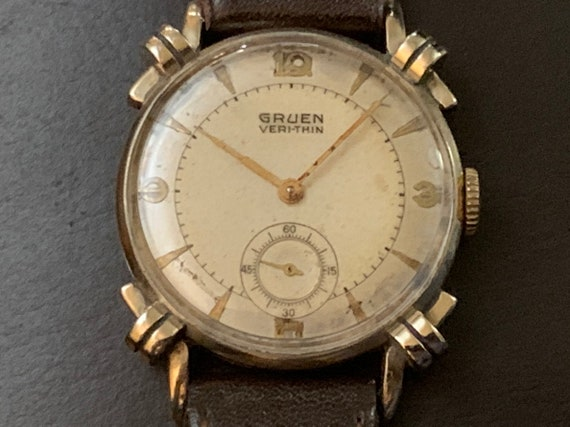 GRUEN Watch, Knotted Lugs, 10K Rolled Gold, Vintage Mens Veri Thin, 2 Tone Sub Seconds, 416 15J Swiss, Gruen Guildite, Genuine Calf Band