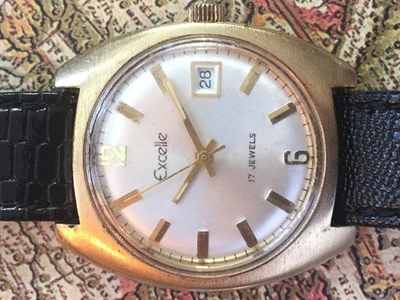Vintage Mens Watch Elgin Excelle Watch 17 Jewel Watch Date Etsy