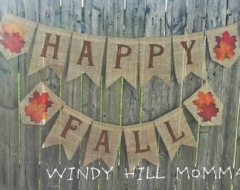 HAPPY FALL Burlap Banner fall decor home decoration fall bunting