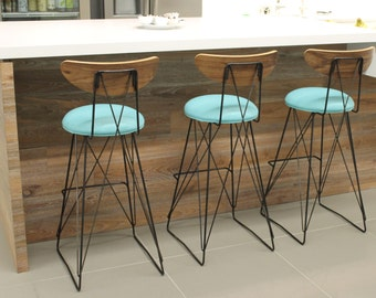 "Mid century industrial bar stool ,seat height 30"",walnut back, choice of fabric"
