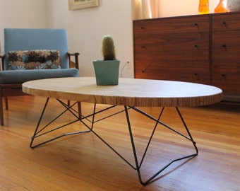 Mid Century Oval Coffee Table, local pickup only