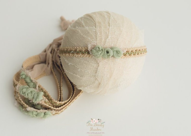 newborn photography prop RTS Sage green and tan trim headband ~ newborn size baby headband.