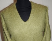 1950s Green Mohair Sweater by John Craig London. Perfect match for pedal pushers or pencil skirt.