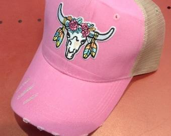 5120bb94c9c Cow Bison Skull Hat - pink