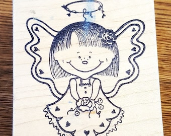 Child Angel Girl With Flowers Rubber Stamp From Great Impressions