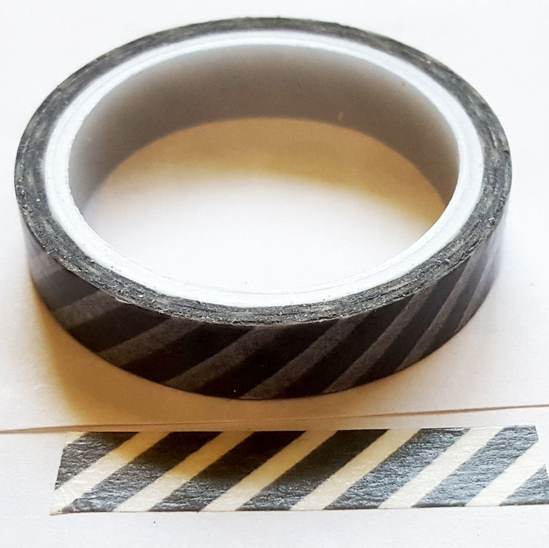 Gray and White Candy Stripe Design Washi Tape