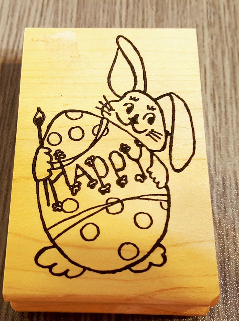 Easter Bunny and Easter Egg Rubber Stamp from Sassistamps