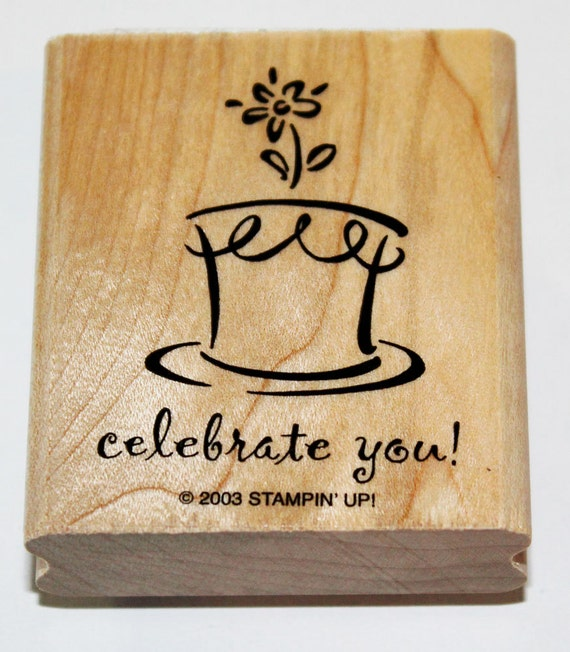 Celebrate You Birthday Cake Rubber Stamp retired from Stampin Up
