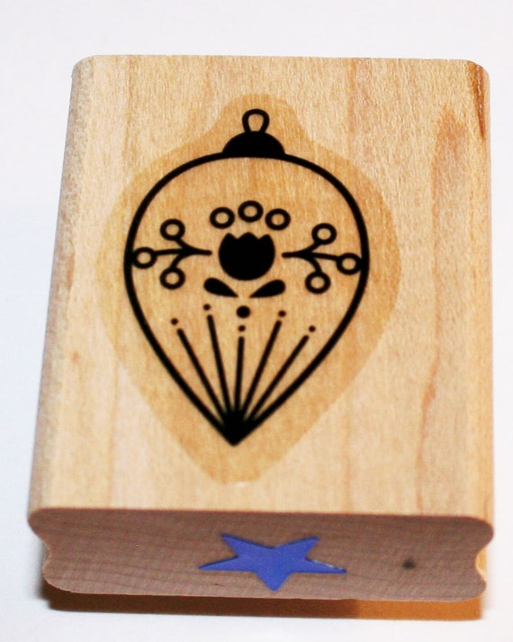 Christmas Ornament Round with Pointed End with Tulip Flower Design Rubber Stamp Retired from Stampin Up