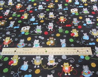 Black With Multicolored CatKitten with Yarn Cotton Fabric By the Yard