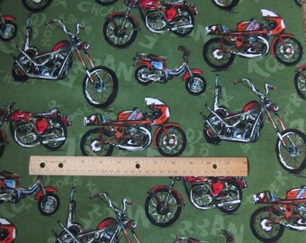 41 x 66 Inches Green Motorcycle/Biker Flannel Fabric