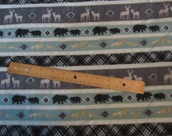 Gray/Blue/Black Striped Woodland Animal/Deer/Bear/Wolf Flannel Fabric by the Yard