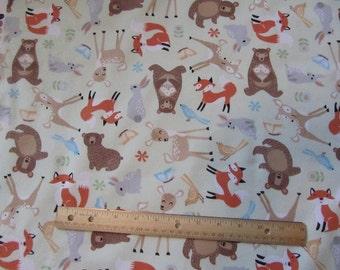 Green Woodland Animal/Fox/Bear/Deer Flannel Fabric by the Yard