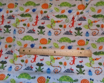 Gray Reptile/Turtle/Gecho/Bug  Flannel Fabric by the Yard