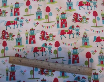 White with Knights/Castles/Dragons Flannel Fabric by the Yard