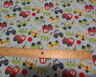 Blue with Multicolored Car/Truck/Bus/Tractor  Vehicles Cotton Fabric by the Yard