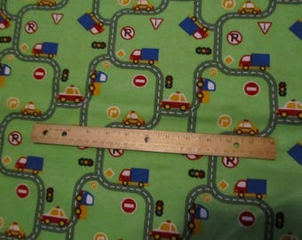 Green Truck/Car/Roads Flannel Fabric  by the Yard