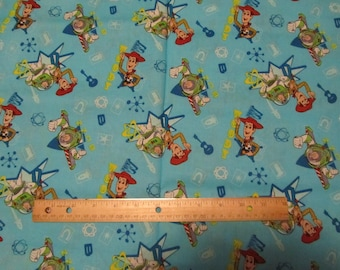 35 Inches Blue Toy Story/Woody/Buzz Cotton Fabric