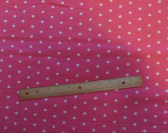 Pink with White Polka Dot Fabric By The Yard