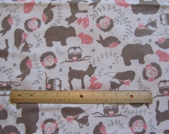 White/Pink/Brown Woodland Animal/Bear/Deer Toile Flannel Fabric by the Yard