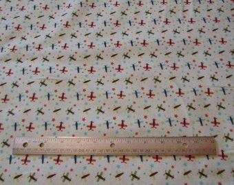 Yellow with Multicolor Airplane Flannel Fabric by the Yard