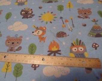 Blue Tribal Woodland Animal/Fox/Bear/Owl Flannel Fabric By the Yard