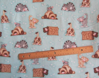 Blue with Multicolored Cat/Kittens Flannel Fabric by the Yard