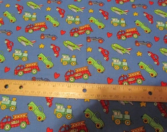 Blue with Multicolored  Vehicles Cotton Fabric by the Yard