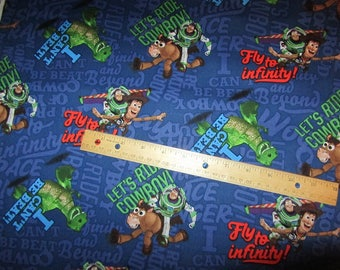 Navy Blue Toy Story Character/Buzz and Woody Cotton Fabric by the Yard