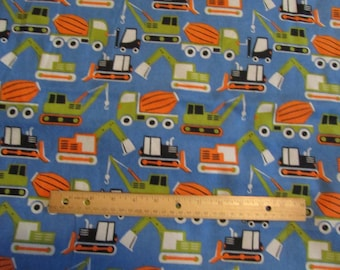 Blue Construction/Dozer/Trucks Flannel Fabric by the Yard