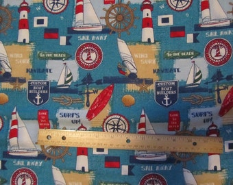 Blue Nautical/Sailing/Boating Flannel Fabric by the Yard