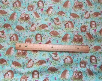 Blue/Green Hedge Hog Woodland Cotton Fabric by the Yard