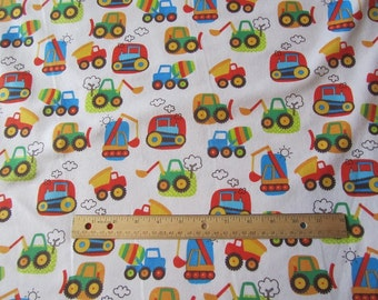 White Truck/Dozer/Tractor/Crane Flannel Fabric by the Yard