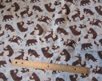 Brown/Blue Woodland Animal/Bear/Deer/ Christmas Fabric by the Yard