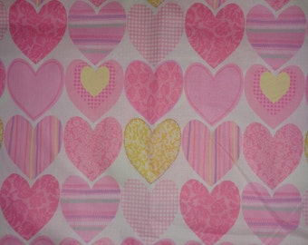 Pink Pastel Heart Cotton Fabric by the Yard