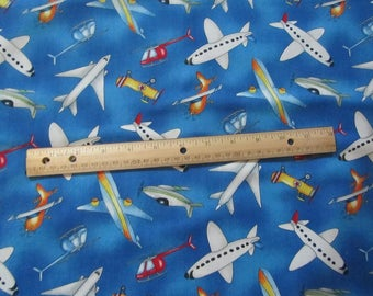 Blue with Multicolored Airpland/Helicopter Cotton Fabric by the Yard