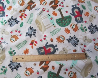 White Forest Animals/Deer/Bear/Owl/Racoon/Rabbit Flannel Fabric by the Yard
