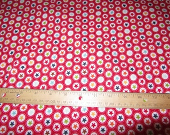 Red Circle/Star Flannel Fabric by the Yard