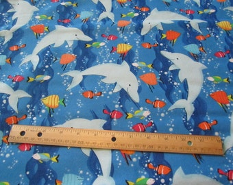 Blue Dolphin/Fish/Sea Flannel Fabric by the Yard