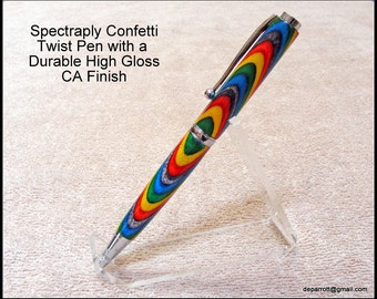 "Chrome Finish Twist Pen Featuring Spectraply ""Confetti""  With A High Gloss And  Durable CA Finish"
