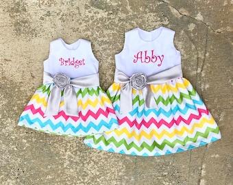 de5ca090506d Embroidered girls dress, pink aqua yellow rainbow chevron dresses, matching  sister dresses, matching outfits, big sister little sister match. SewChristi