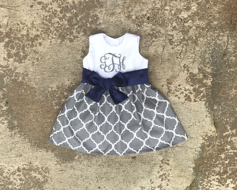 4e7332645507 Gray and navy Easter dress little girl clothes monogrammed | Etsy