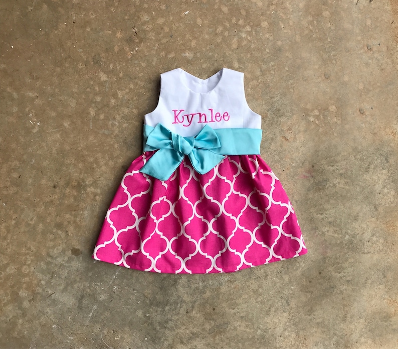 14acc181834da Personalized toddler girl dress, baby girl clothes, Pink quatrefoil dress  with light aqua sash, spring dress, summer outfit, monogram baby