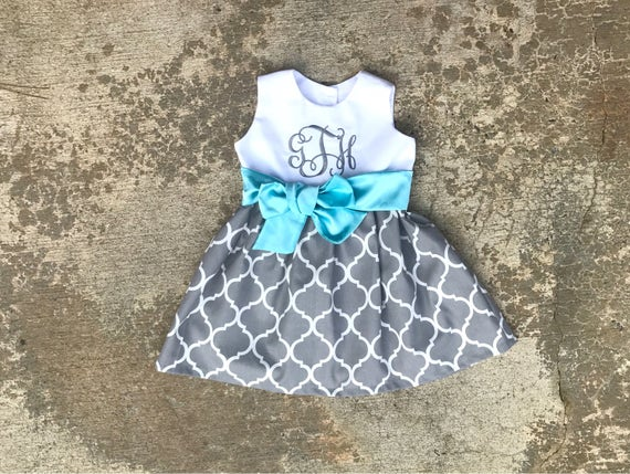 Monogrammed girls boutique dress, baby girl clothes, gray quatrefoil dress, flower girl dress, aqua blue and gray outfit, toddler girl dress