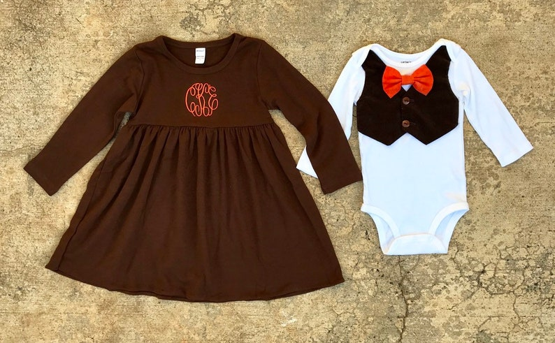 baby boy orange bow tie corduroy vest girls monogram brown dress Brother Sister Matching thanksgiving outfits orange and brown fall outfit